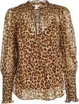 Veronica Beard Jaz Silk Leopard Blouse
