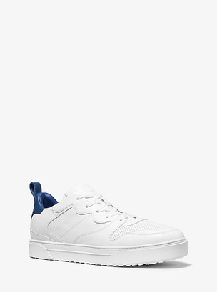 Michael Kors Baxter Two-Tone Leather Lace-Up Sneaker - Optic White