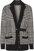 Sacai Twill-trimmed Glen Plaid Wool-blend Cardigan - Black