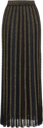 Missoni Pleated Metallic Striped Crochet-knit Maxi Skirt