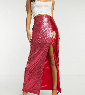 Collective the Label exclusive sequin split midaxi skirt in contrast pink and red