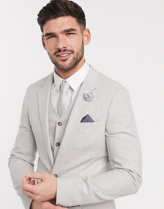 ASOS DESIGN wedding super skinny suit jacket in stretch cotton linen in grey check