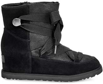 UGG Classic Premium Femme Lace-up Hidden Wedge Ankle Boots - Black