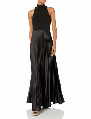 Nicole Miller Women's Poly Satin Mock Neck Pleated Gown