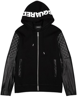 DSQUARED2 Black panelled rib-knit jacket