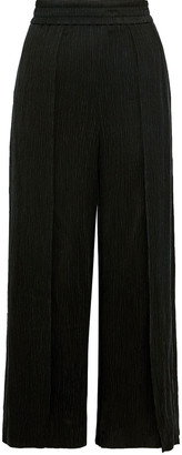 Alice + Olivia Elba Cropped Plisse-twill Wide-leg Pants