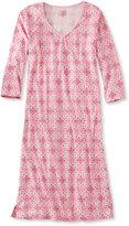L.L. Bean Supima Cotton Nightgown, V-Neck Three-Quarter Sleeve Print