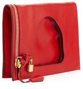 Tom Ford Alix Small Padlock & Zip Flat Bag, Dark Orange