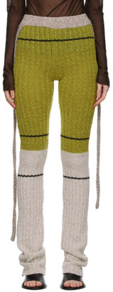 Ottolinger Green and Grey Ripp Knit Lounge Pants