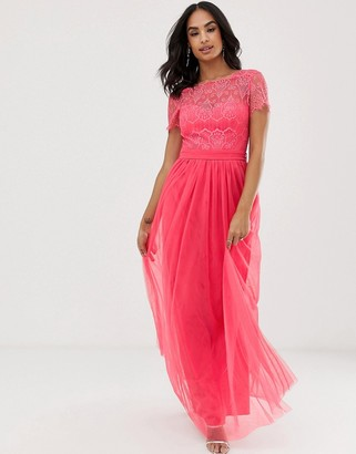 Little Mistress eyelash lace overlay bodice maxi dress