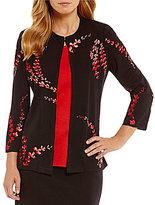 Misook Jewel Neck Embroidered Jacket