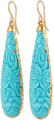 Devon Leigh Carved Turquoise in Gold Foil Earrings