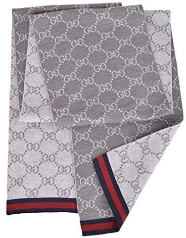 Gucci Men's Wool Reversible GG Guccissima Blue Red Web Scarf Muffler