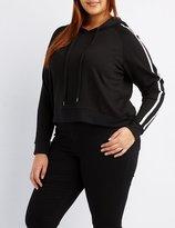Charlotte Russe Plus Size Varsity Stripe Cropped Hoodie
