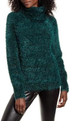Leith Metallic Eyelash Turtleneck Sweater