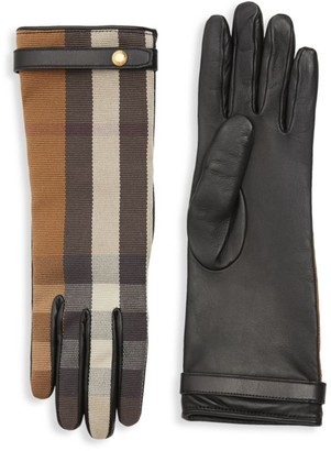 Burberry Check To Leather Gloves