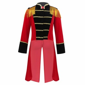 Alvivi Kids Boys Long Sleeve Tassle Stand Collar Tuxedo Jacket Halloween Circus Ringmaster Cosplay Party Clothes Red 3-4 Years