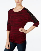 Amy Byer Juniors' Space-Dyed Crochet-Trim Top