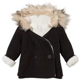 The Little Tailor Charcoal Teddy-Lined Cotton Pixie Jacket with Faux Fur Hood