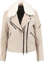 Rag & Bone Minerva shearling-trimmed textured-leather biker jacket