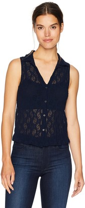Only Hearts Women's Stretch Lace Slvless Button Down