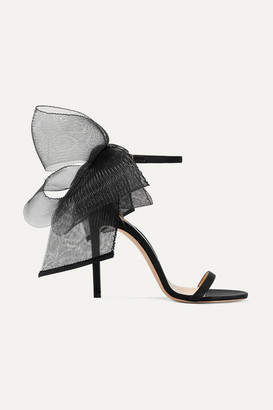 Jimmy Choo Aveline 100 Bow-embellished Grosgrain Sandals - Black