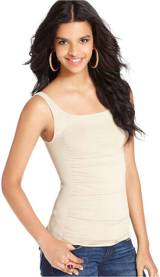 Bar III Top, Sleeveless Scoop-Neck Ruched Tank