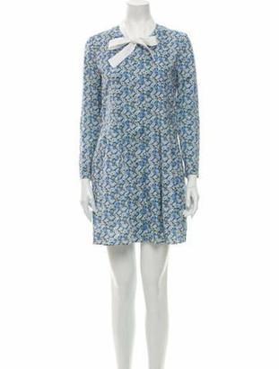 Saint Laurent Floral Print Mini Dress Blue