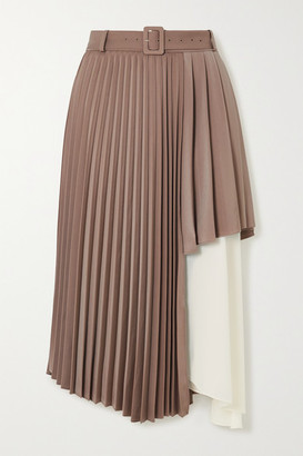 ANDERSSON BELL Melanie Layered Pleated Satin And Crepe De Chine Midi Skirt - Beige