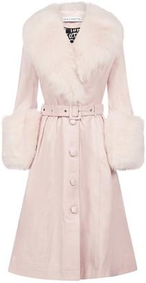 Saks Potts Fox-fur Trimmed Lambskin Coat
