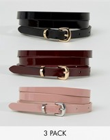 Asos 3 Pack Patent Skinny Waist And Hip Belts