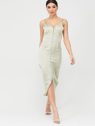 Missguided Satin Lace Self Buttons Midi Dress - Green