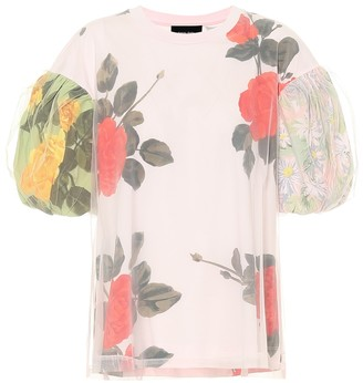 Simone Rocha Floral tulle and cotton T-shirt