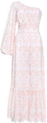 True Decadence White Pink Broderie One Shoulder Maxi Dress