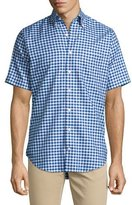 Peter Millar Check Short-Sleeve Oxford Shirt, Navy/White