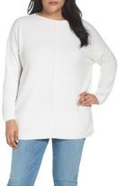 Caslon Plus Size Women's Mixed Stitch Bateau Neck Sweater