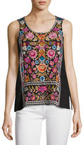 Johnny Was Anaya Linen Embroidered Tank, Plus Size