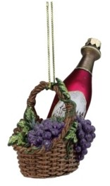 "Northlight 4.5"" Purple Wine Bottle in Grape Basket Christmas Glass Ornament"