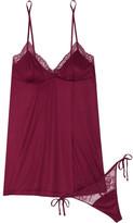 La Perla Charisma Lace-trimmed Modal-blend Jersey Chemise And Thong Set - Merlot