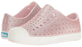 Native Jefferson Bling Glitter (Little Kid) (Milk Pink Bling/Shell White) Girls Shoes