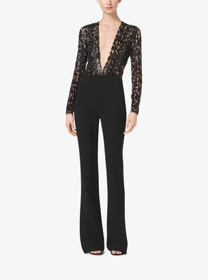 Michael Kors Embroidered Stretch Wool-Crepe Jumpsuit