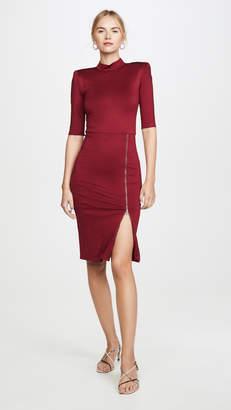 Alice + Olivia Inka Straight Shoulder Mock Neck Slit Mini Dress