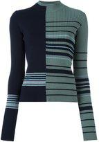 Maison Margiela contrast stripe knitted sweater - women - Wool/Viscose/Polyester/Spandex/Elastane - M