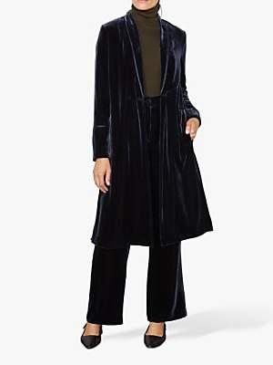 Jigsaw Silk Velvet Split Coat, Navy