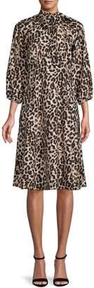 Calvin Klein Cheetah-Print A-Line Dress