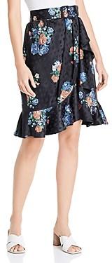 Tory Burch Ruffled Floral Silk Jacquard Skirt