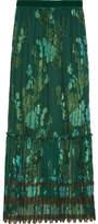 Anna Sui Iridescent Moonlight Garden Fil Coupé Silk-blend Chiffon Skirt - Green