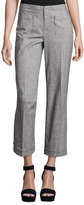 ATM Anthony Thomas Melillo Cropped Tweed Wide-Leg Pants, Gray