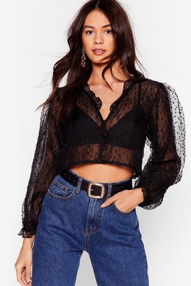Nasty Gal Womens And Heaven Blouse Cropped Sheer Blouse - Black - L