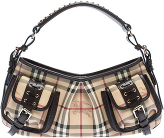 Burberry Beige/Brown Haymarket Check PVC and Leather Front Pocket Bag